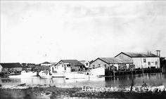 Hatteras Village Waterfront - Dick Burrus's Texaco Station - Circa 1940-50s. Photo: National Park Service Collection
