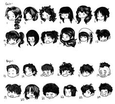 Chibi Hair Styles by SuperCatGirl.deviantart.com on @DeviantArt