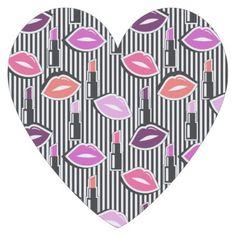 #black - #Lips & Lipstick | Black & White Stripes Paper Coaster