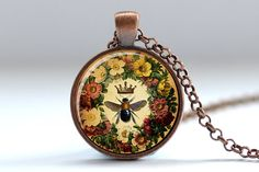 Queen Bee Necklace, Vintage Style Bee Art Pendant, Honeybee Charm, Bee Jewelry (196)