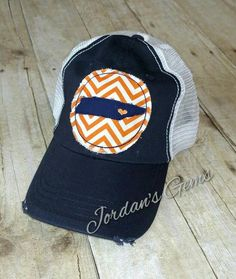 12cd131bafc8d Knoxville Love   Tennessee State   Home and Heart Embroidered Orange   White  Chevron Raggy Patch Distressed Navy and White Trucker Hat  Cap
