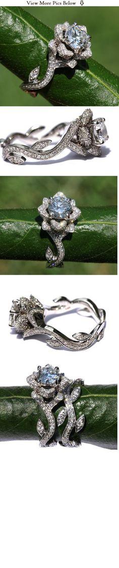BLOOMING Work Of Art - Milgrain Flower Rose Lotus Diamond Engagement or Right Hand Ring - Semi Mount - Setting - 18K white gold - fL07. $3,525.00, via Etsy.