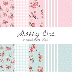 Shabby Chic Digital Paper, Floral, Gingham, Stripes, Polka Dots