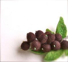 Brooch Berries Felted brooch Black currant  Berries by jurooma