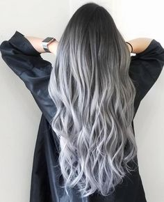 21 Stunning Purple Ombre Hair Color Ideas for 2019 - Style My Hairs Silver Ombre Hair, Ombre Hair Color, Hair Color Balayage, Cool Hair Color, Gray Hair, Black And Grey Hair, Hair Colour, Brown Hair, Long Grey Hair