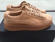 1f427397c4 New Rihanna Fenty x Puma Suede Creepers Khaki Oatmeal Women s Sizes 6 5 7 5