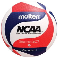 Molten FLISTATEC Volleyball - Official NCAA Men's Volleyball, Red/White/Blue Official Volleyball of the NCAA Men's Championships FLISTATEC Flight Stability Technology Premium micro-fiber composite cover Nylon wound Indoor use, warranty All Volleyball, Volleyball Designs, Good Grips, No Equipment Workout, Soccer Ball, Indoor, Amazon, Outdoors, Sports