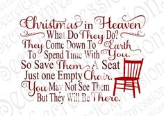 Christmas Heaven Svg Empty Chair Svg by SecretExpressionsSVG