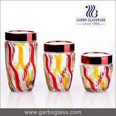 Glass storage with color spray