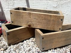 Rustic Wooden Box Centerpieces (13l x5w x 3.5h). $12.00, via Etsy. Could make so cheap!