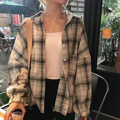Free shirt plaid long sleeves autumn harajuku free shirt plaid long sleeves autumn in 2020 Plaid Shirt Outfits, Cute Casual Outfits, Summer Outfits, Autumn Outfits, Cute Flannel Outfits, Blue Flannel Outfit, Oversized Flannel Outfits, Autumn Clothes, Plaid Shirts
