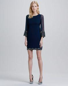 Frieda Embellished-Trim Dress by Alice + Olivia at Neiman Marcus.