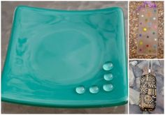 Teal Dish with Clear Detailing, Spotty Suncatcher and Black and Gold Pendant
