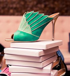 We Spent 24 Hours With Malone Souliers' Designers: Two tone green mule high heel with gold accents | coveteur.com