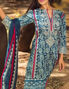 Buy Teal Blue Cotton Dress by Khaadi 2015.