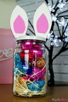 Easter Snacks, Easter Party, Easter Gift, Happy Easter, Easter Bunny, Easy Easter Crafts, Bunny Crafts, Pot Mason, Mason Jar Crafts