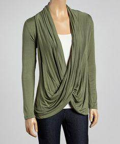 This Light Olive Crisscross Drape Top is perfect! #zulilyfinds