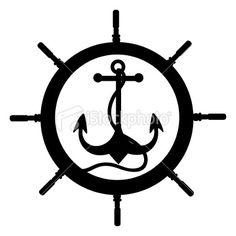 Anchor and Rudder Royalty Free Stock Vector Art Illustration