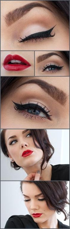 I love this vintage make-up look, probably my fave! Makeup Tips and Tutorials! Vintage Triple Winged Eyeliner and make-up Pretty Makeup, Love Makeup, Hair Makeup, Gorgeous Makeup, Makeup Style, Perfect Makeup, Makeup Hairstyle, Hairstyle Ideas, Amazing Makeup