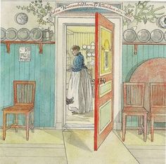 Carl Larsson. Love the bright duck egg blue wainscoting and the dish rail.