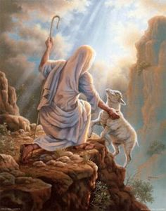 Jesus rescues the lost sheep.