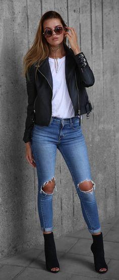 #fall #fashion / Boda Skins jacket + ripped denim