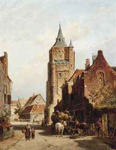 The hay cart in Amersfoort, Pieter Cornelis Dommersen 1834-1908