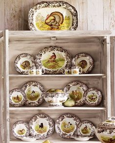 """Spode """"Woodland"""" Dinnerware  English earthenware from Spode® features traditional game and bird studies with a border pattern inspired by the British flower designs favored in the early-19th century. Dinner and salad plates will bear the same image."""