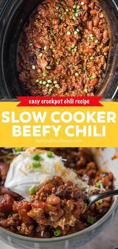 Slow Cooker Chili is packed with beefy flavor, tons of beans, perfectly seasoned with the right amount of heat. It's the best crockpot chili!