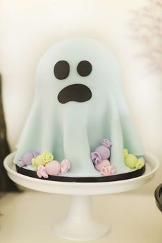 Check out the awesome ghost cake at this spook pastel Halloween Party!! See more party ideas and share yours at CatchMyParty.com #ghost #cake
