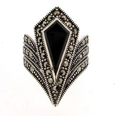 Art Deco Ring Silver Black Marcasite by HirstAntiques on Etsy