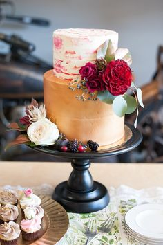 Copper- and jewel-toned cake featured on Midwest Bride