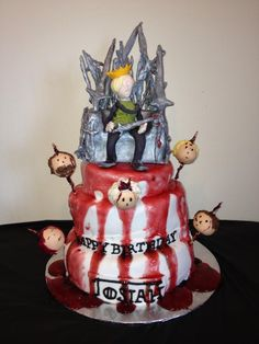 Game of thrones inspired cake I made for my boyfriends birthday. . Everything is edible. The topper is my boyfriend on the iron throne and the cake pops are the other characters on spikes!