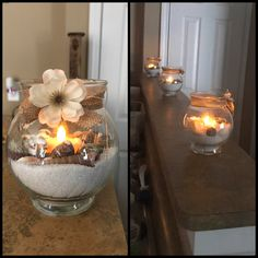 Dollar store craft. $1 glass jars, $1 bag of sand, $1 bag of shells, $1 box tea lights, $1 burlap ribbon, and leftover flowers from a different craft. -made by Belinda Friedrich.