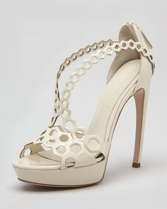 ce67eac2428 Alexander McQueen - White Doublearched Honeycomb Patent Leather Sandal -  Lyst