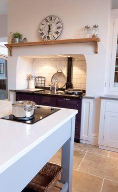 Chimney design aga stove, stove vent, cooker in chimney breast, range cooke Georgian Interiors, Georgian Homes, Cottage Interiors, Cottage Kitchens, Home Kitchens, Cooker In Chimney Breast, Style At Home, Kitchen Chimney, Bespoke Kitchens