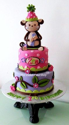 This cake I made for a 1st birthday. The monkey girl topper was handshaped from cereal treats and covered with chocolate fondant. The party hat has a mini bow on top made from fondant, which surprisingly to me, was tougher to pull off than a...