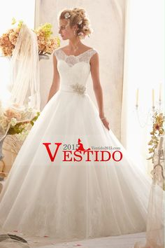 2014 del hombro del cordón de la blusa de la boda vestido de una línea de cola capilla de Tulle de la falda con la cinta con cuentas