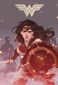 Gal Gadot Wonder Woman by Renareveillust Nightwing, Wonder Woman Art, Wonder Woman Drawing, Wonder Woman Comic, Wonder Women, Arte Dc Comics, Batman, Wow Art, Dc Characters