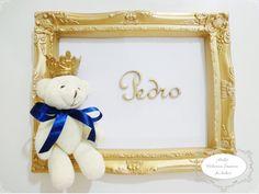 Quadro Porta Maternidade Ouro Urso Principe