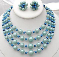 Vintage Blue Green Bead Set Necklace Earrings Japan Multi Strand Cats Eye Estate | eBay
