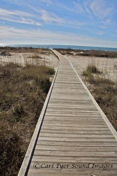 Hilton Head Island, South Carolina, Beach, boardwalk, wooden walk, treated wood