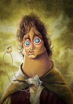 Elijah Wood como Frodo en El Señor de los Anillos (The Lord of the Rings). #caricatura