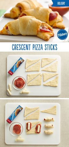 Crescent Pizza Sticks will become your new go-to holiday recipe! They're the perfect appetizer, snack or meal to kick off the holiday season with family and friends. These super easy pizza sticks are loaded with cheese and pepperoni and dippe Crescent Roll Pizza, Crescent Roll Recipes, Ingredient Pizza, Pizza Sticks, Good Food, Yummy Food, Appetizer Recipes, Pizza Appetizers, Tapas Recipes