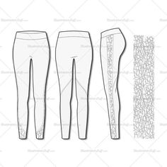 Women's Fashion Seamless Sport Legging Flat Template.