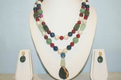 Double Line Semi-Precious Stone Necklace Made With Blood Stone, Jade, Red Onyx, Blue Onyx, Agate , Pearls.