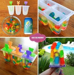 Summer fun! I would soak gummies in vodka first lol for grown up Popsicles an still do it this way!!