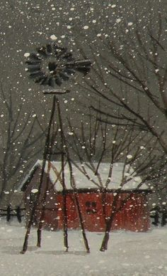 Windmill and Barn In Winter Snow I Love Winter, Winter Snow, Winter Time, Barn Pictures, Winter Pictures, Farm Windmill, Old Windmills, Country Barns, Country Houses
