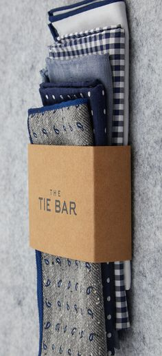 Pocket squares, $10 or 3-packs for $45 at TheTieBar.com