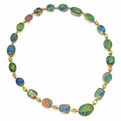 18 Karat Gold, Black Opal and Colored Diamond Necklace, J.E. Caldwell, Circa 1920